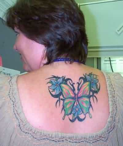 Tribal Butterfly & Flowers
