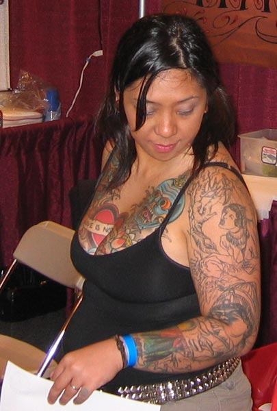 Tattooed Lady Chest Arm Piece