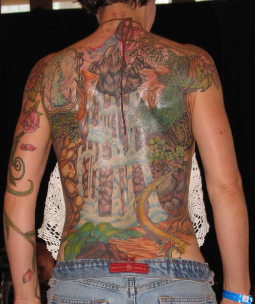 dragon waterfall tattoo. Waterfall Backpiece